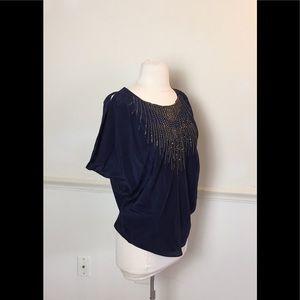 Navy Blue Silk cold shoulder embellished top